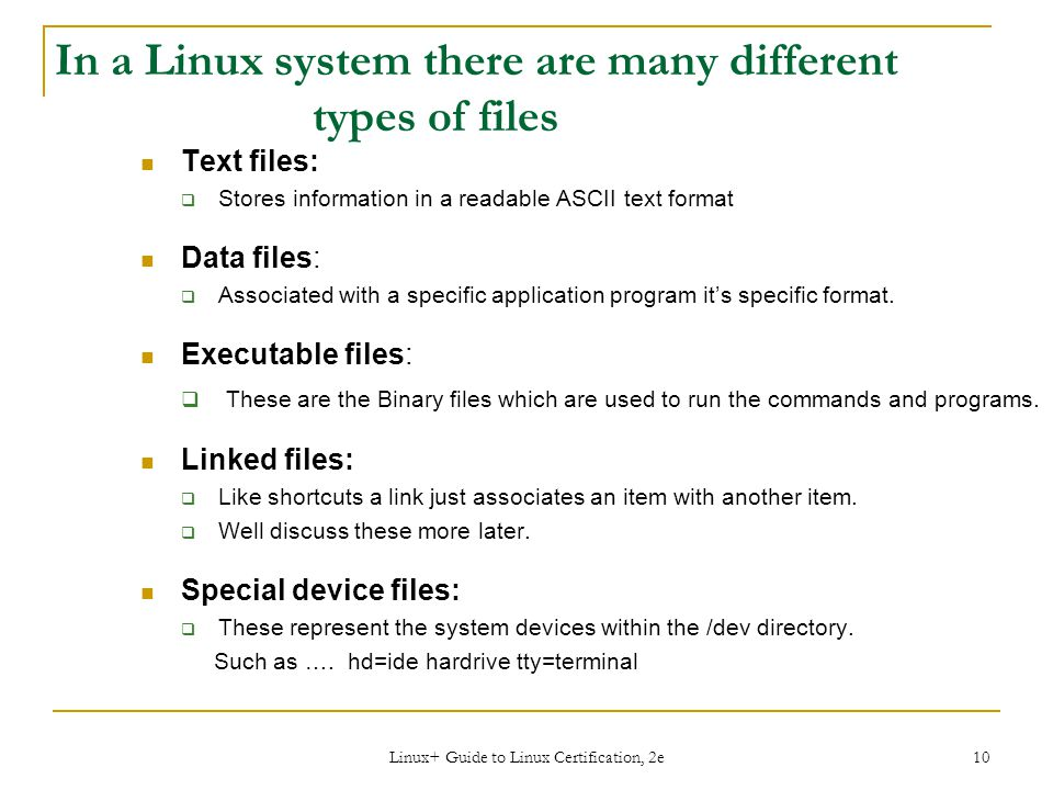 In a Linux system there are many different types of files