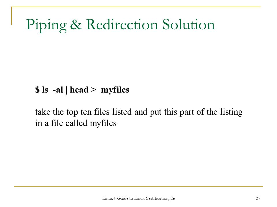 Piping & Redirection Solution