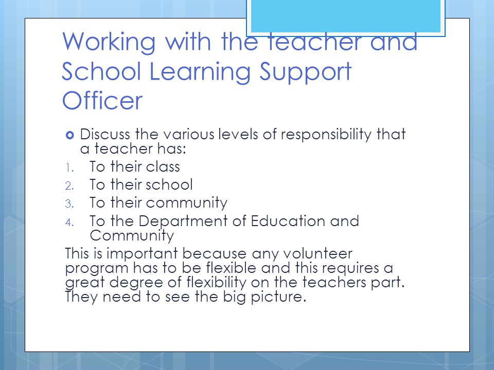 Working with the teacher and School Learning Support Officer