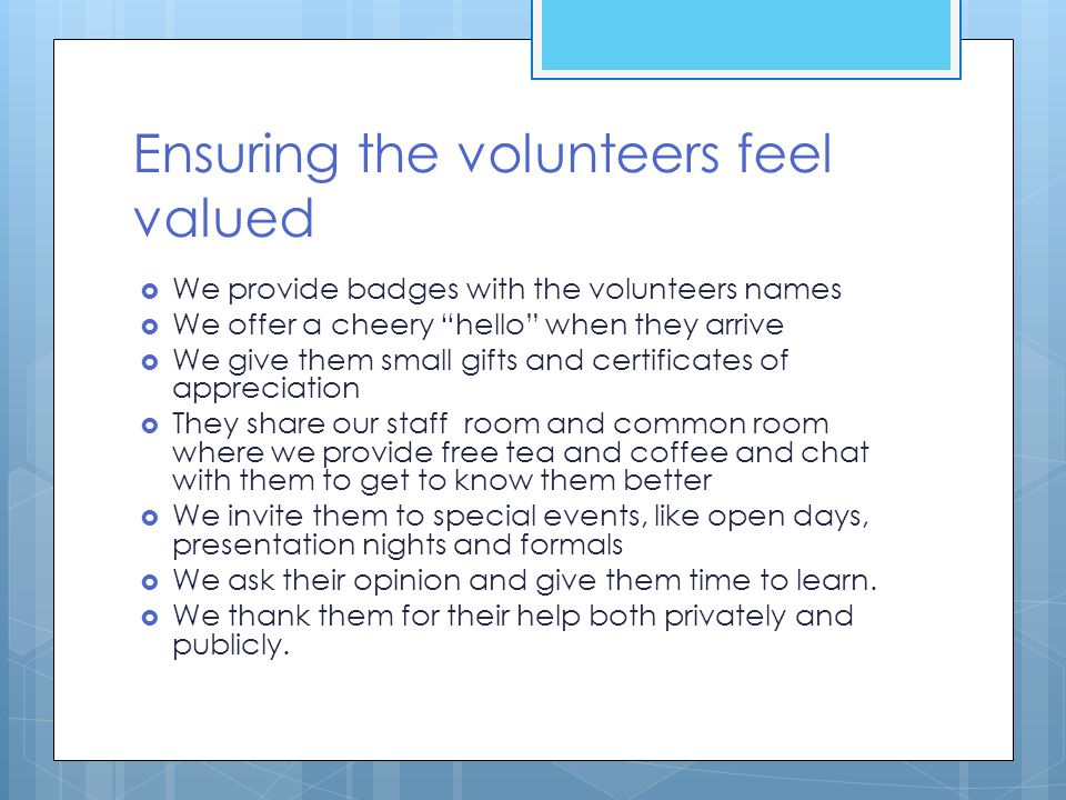 Ensuring the volunteers feel valued