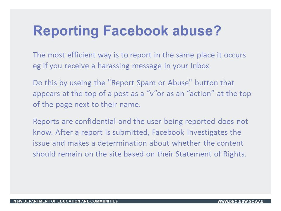 Reporting Facebook abuse