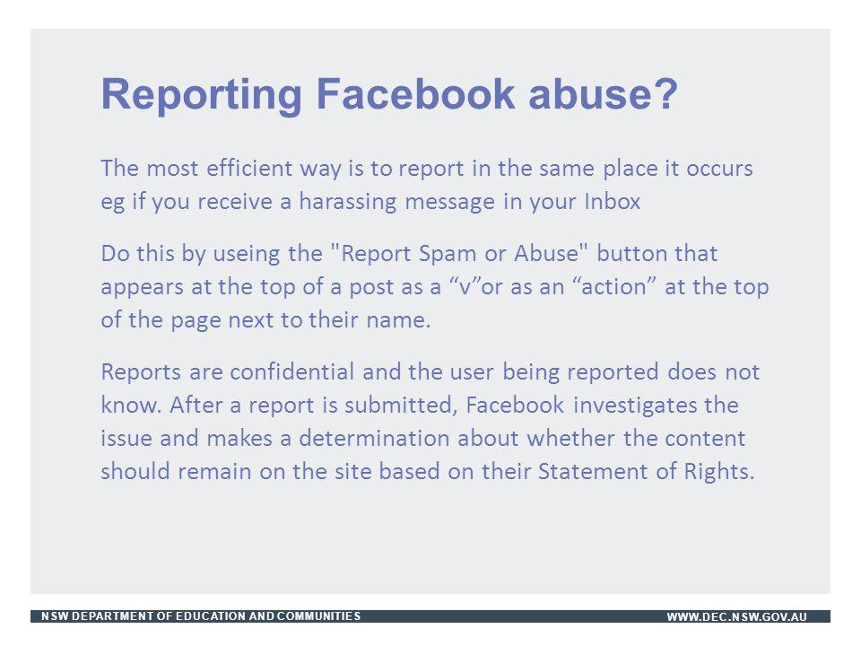 Reporting Facebook abuse