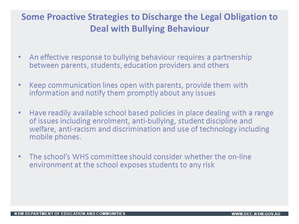 Some Proactive Strategies to Discharge the Legal Obligation to Deal with Bullying Behaviour