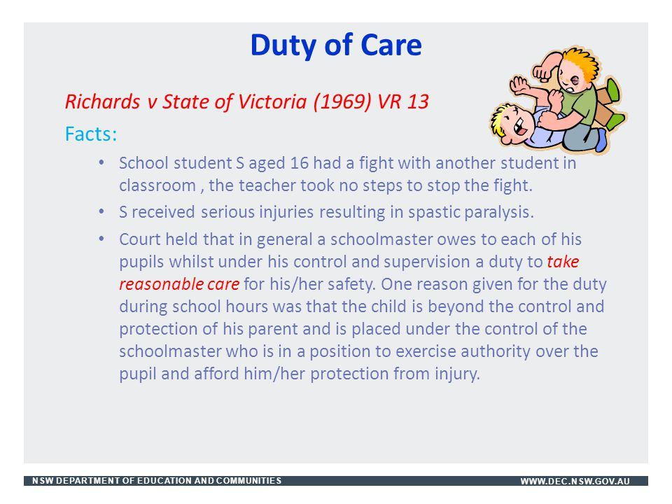 Duty of Care Richards v State of Victoria (1969) VR 13 Facts: