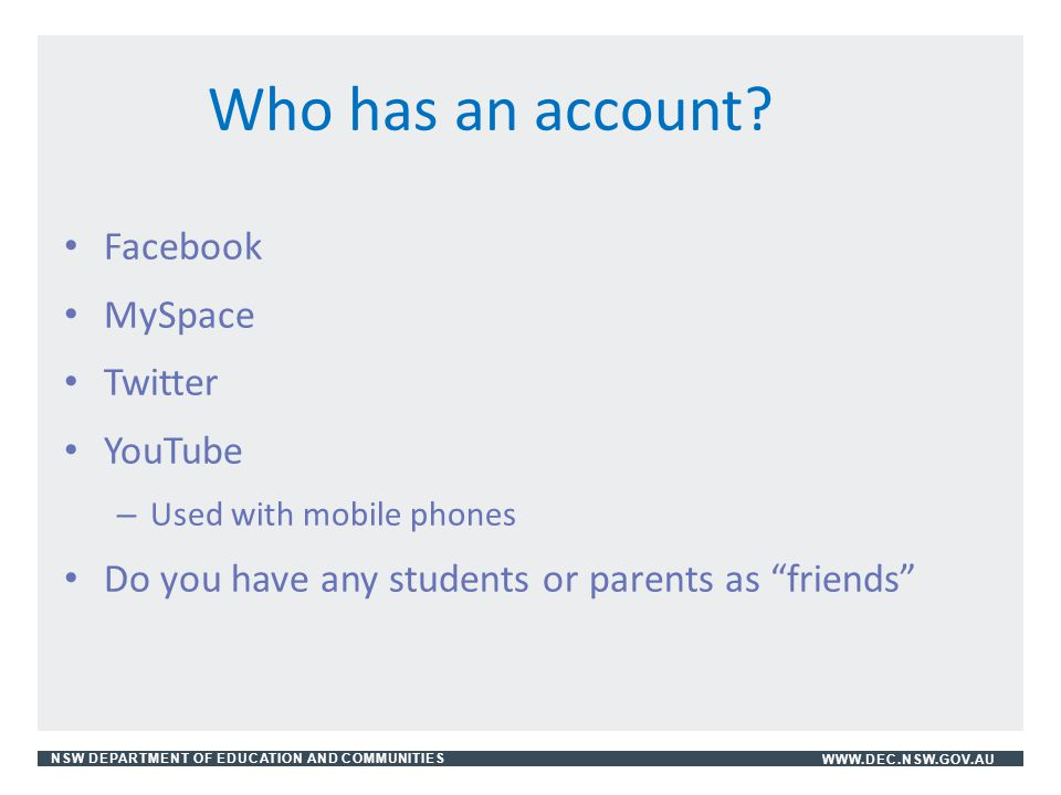 Who has an account Facebook MySpace Twitter YouTube