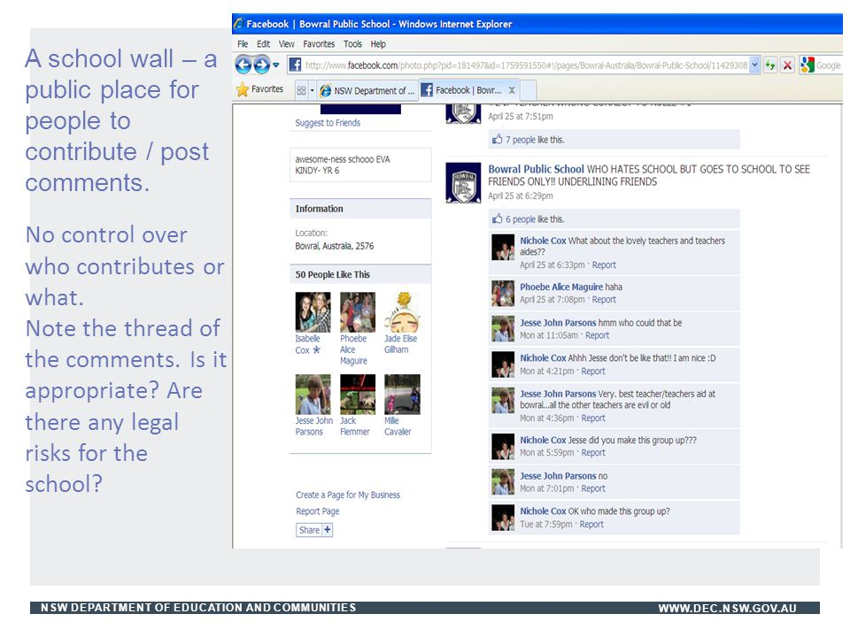 A school wall – a public place for people to contribute / post comments.
