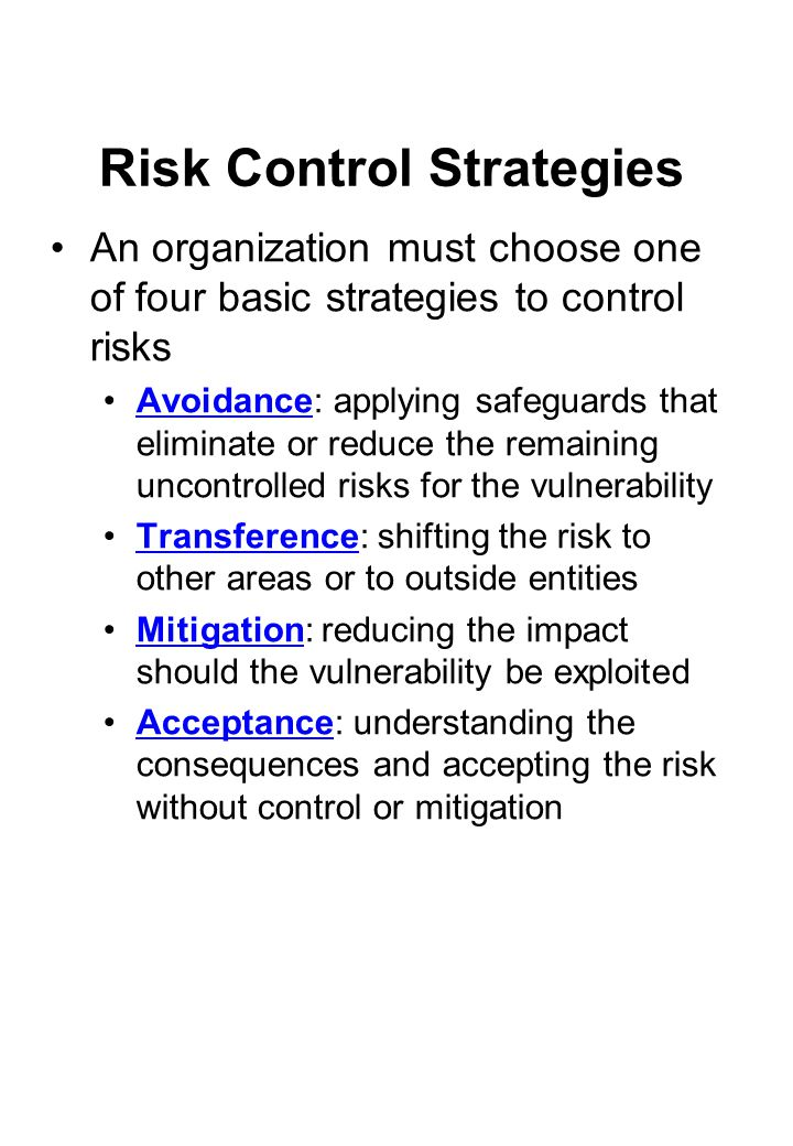 Risk Control Strategies