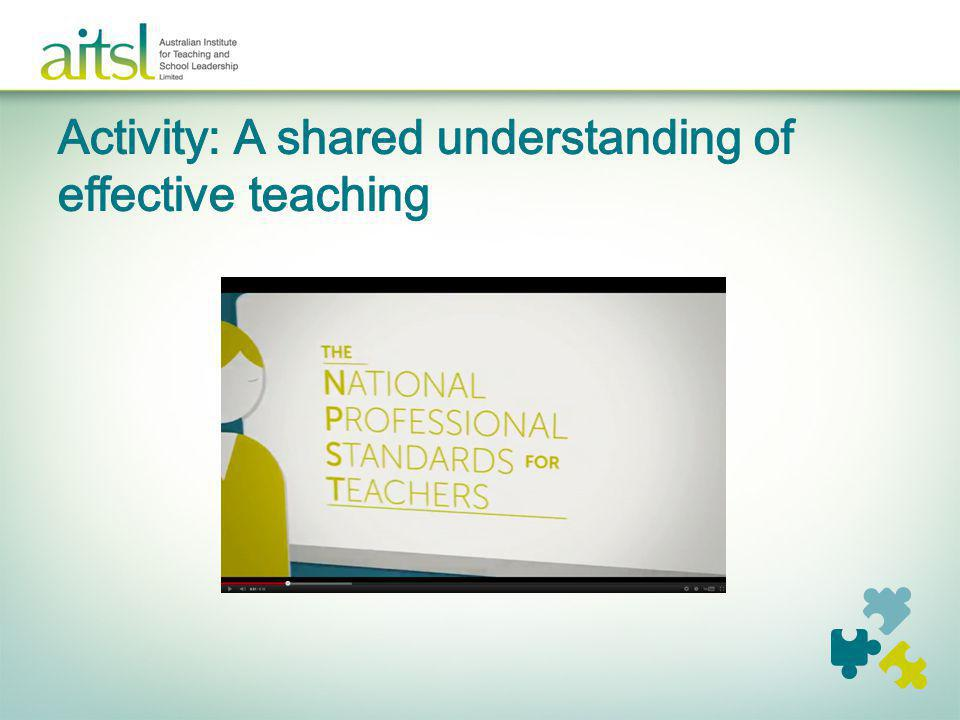Activity: A shared understanding of effective teaching