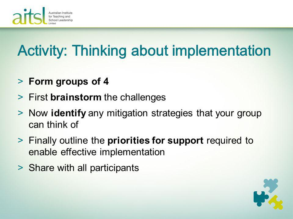 Activity: Thinking about implementation