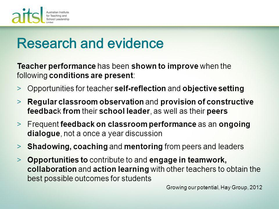 Research and evidence Teacher performance has been shown to improve when the following conditions are present:
