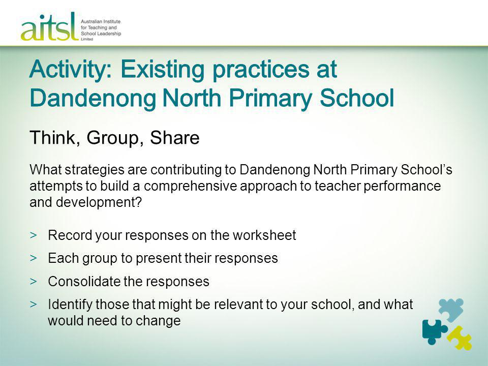 Activity: Existing practices at Dandenong North Primary School