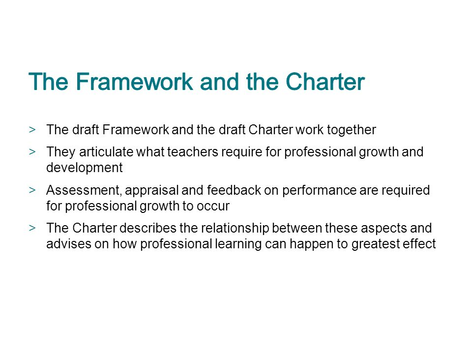 The Framework and the Charter