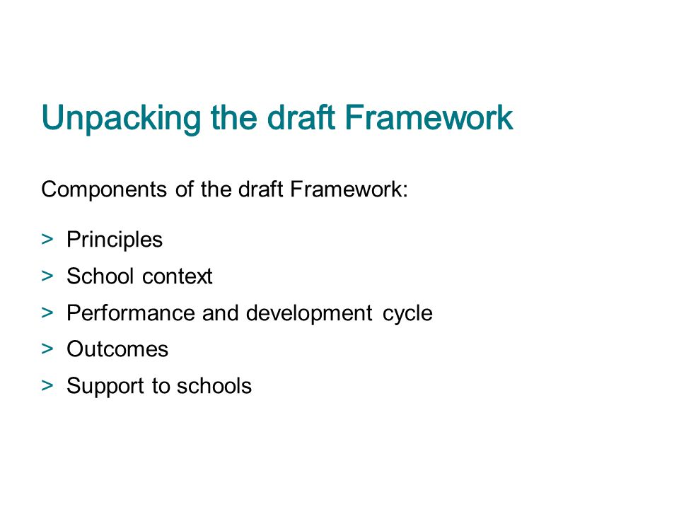 Unpacking the draft Framework