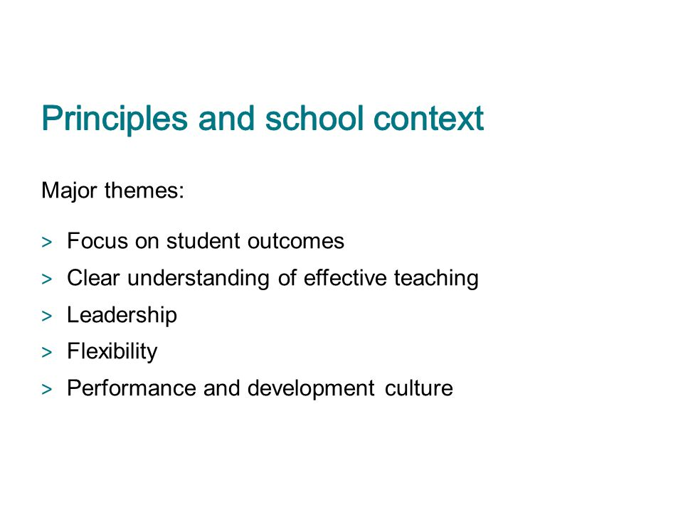 Principles and school context