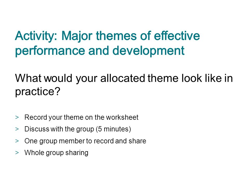 Activity: Major themes of effective performance and development