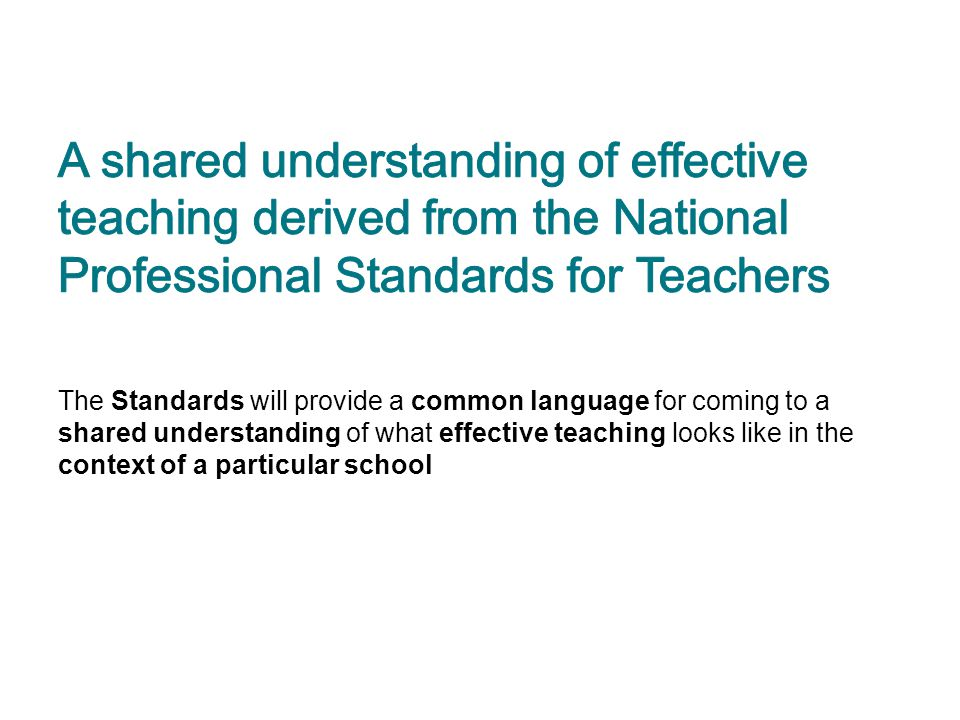 A shared understanding of effective teaching derived from the National Professional Standards for Teachers
