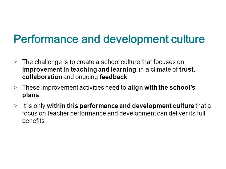Performance and development culture