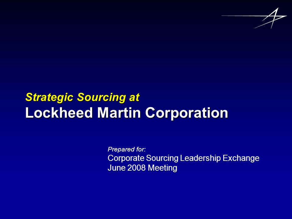 Strategic Sourcing at Lockheed Martin Corporation