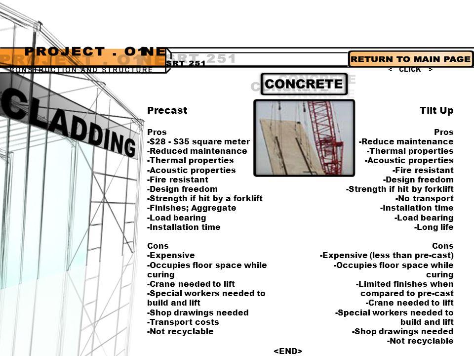 Precast Tilt Up Pros -$28 - $35 square meter -Reduced maintenance