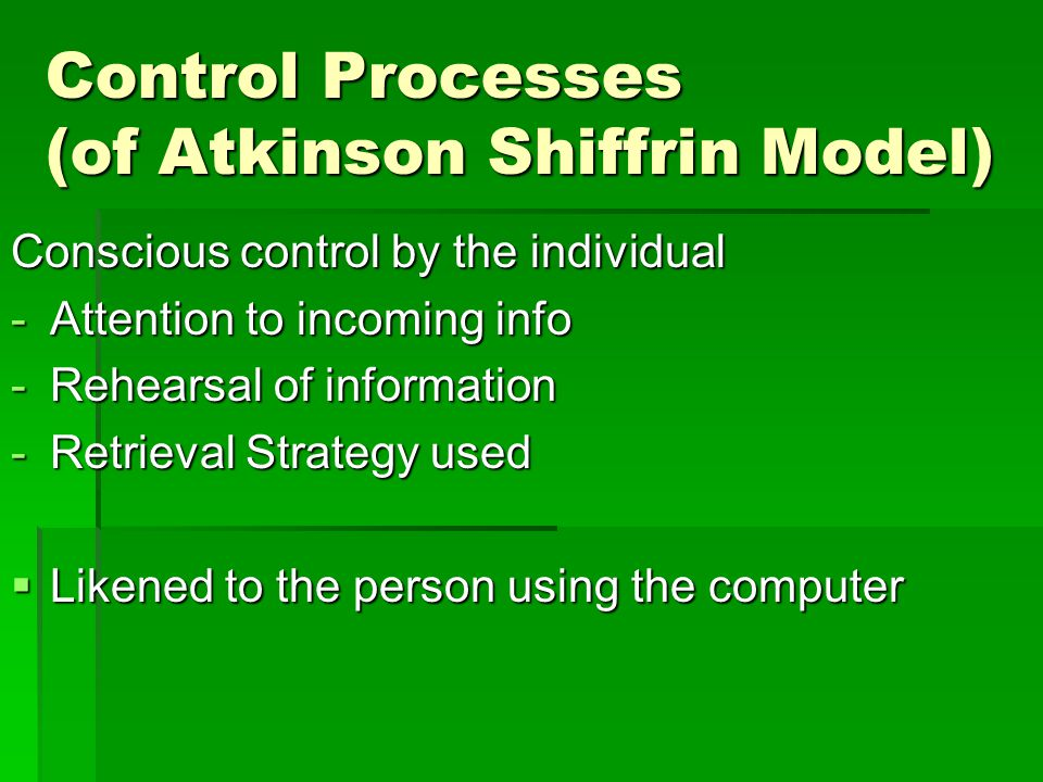 The three information stores of the atkinson model of memory
