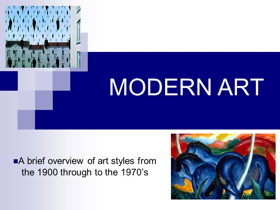 A brief overview of art styles from the 1900 through to the 1970's
