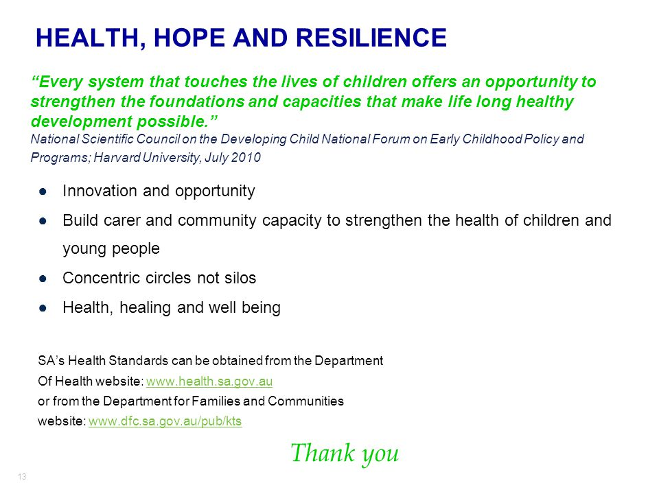 HEALTH, HOPE AND RESILIENCE