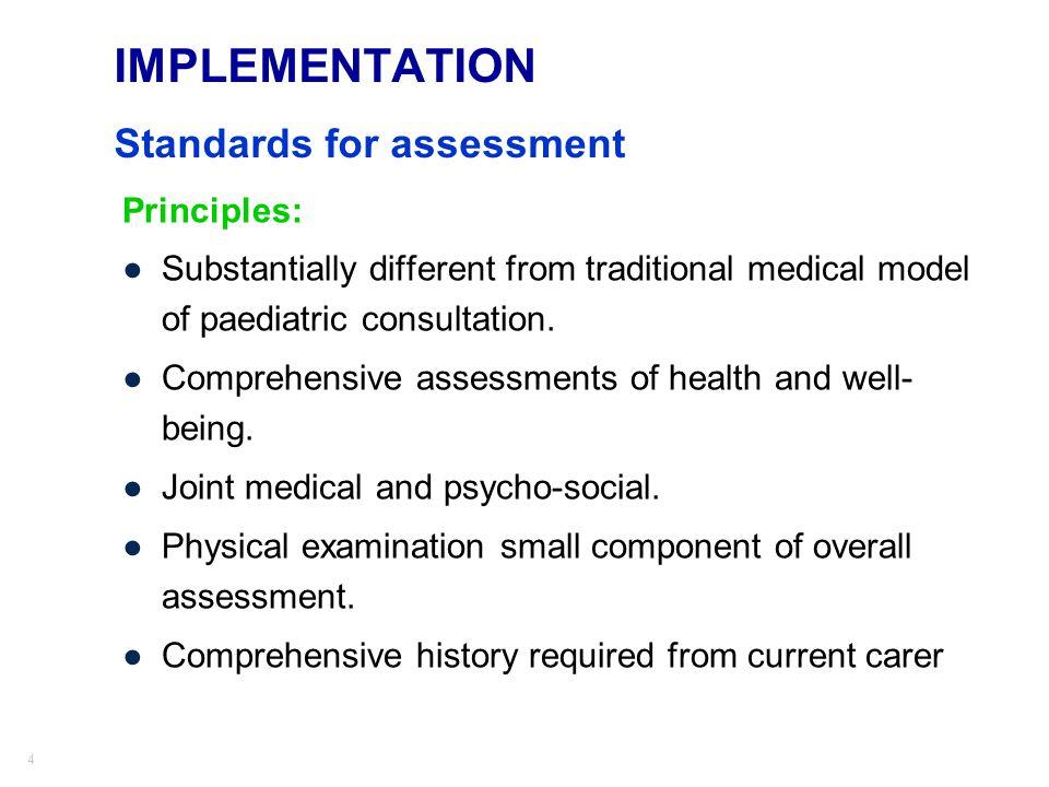 IMPLEMENTATION Standards for assessment