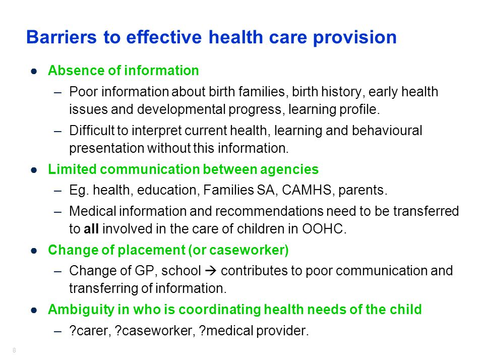 Barriers to effective health care provision