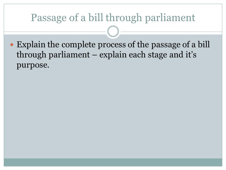 Passage of a bill through parliament