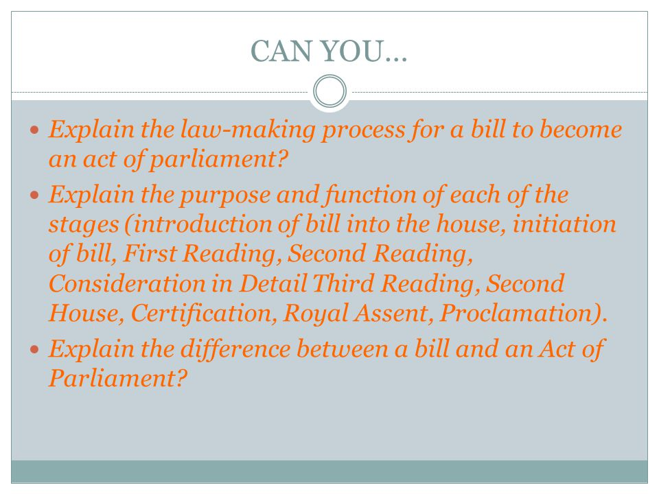 CAN YOU… Explain the law-making process for a bill to become an act of parliament