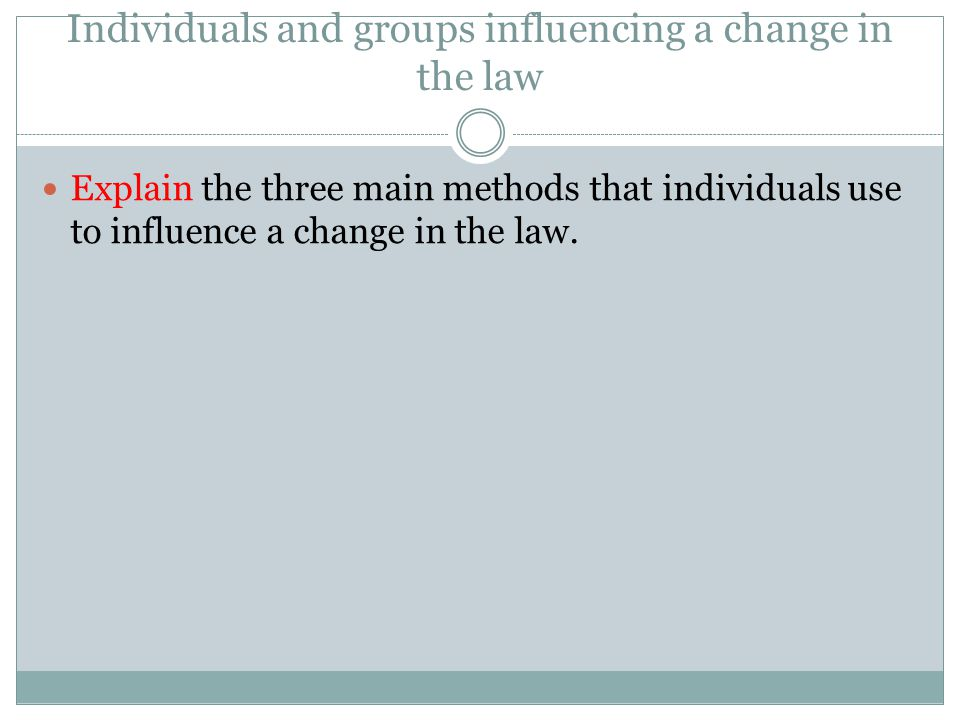 Individuals and groups influencing a change in the law