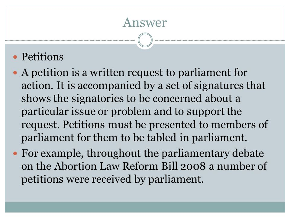 Answer Petitions.