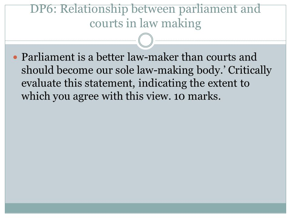 DP6: Relationship between parliament and courts in law making
