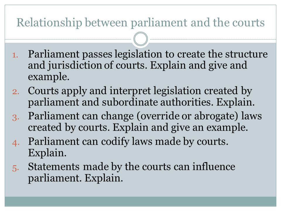 Relationship between parliament and the courts
