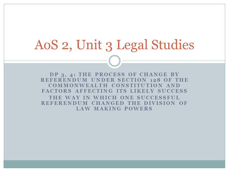 AoS 2, Unit 3 Legal Studies