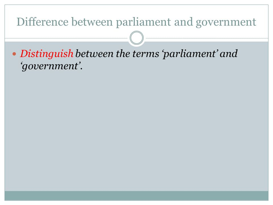 Difference between parliament and government