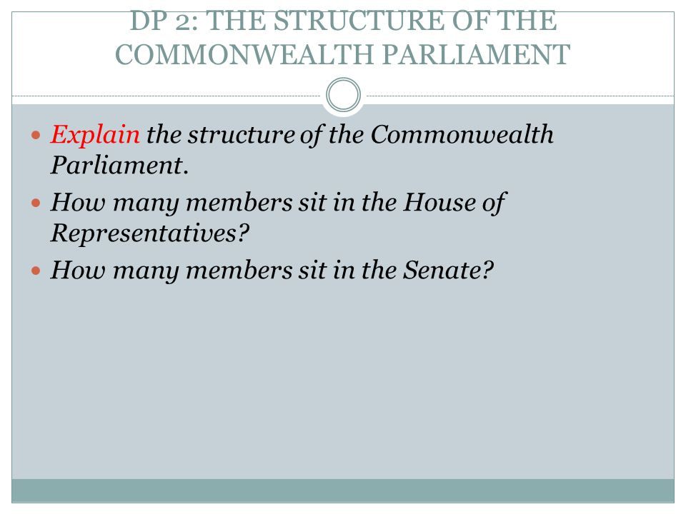 DP 2: THE STRUCTURE OF THE COMMONWEALTH PARLIAMENT