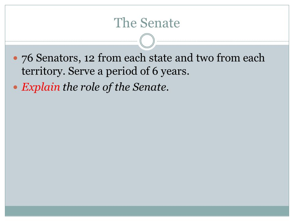 The Senate 76 Senators, 12 from each state and two from each territory.