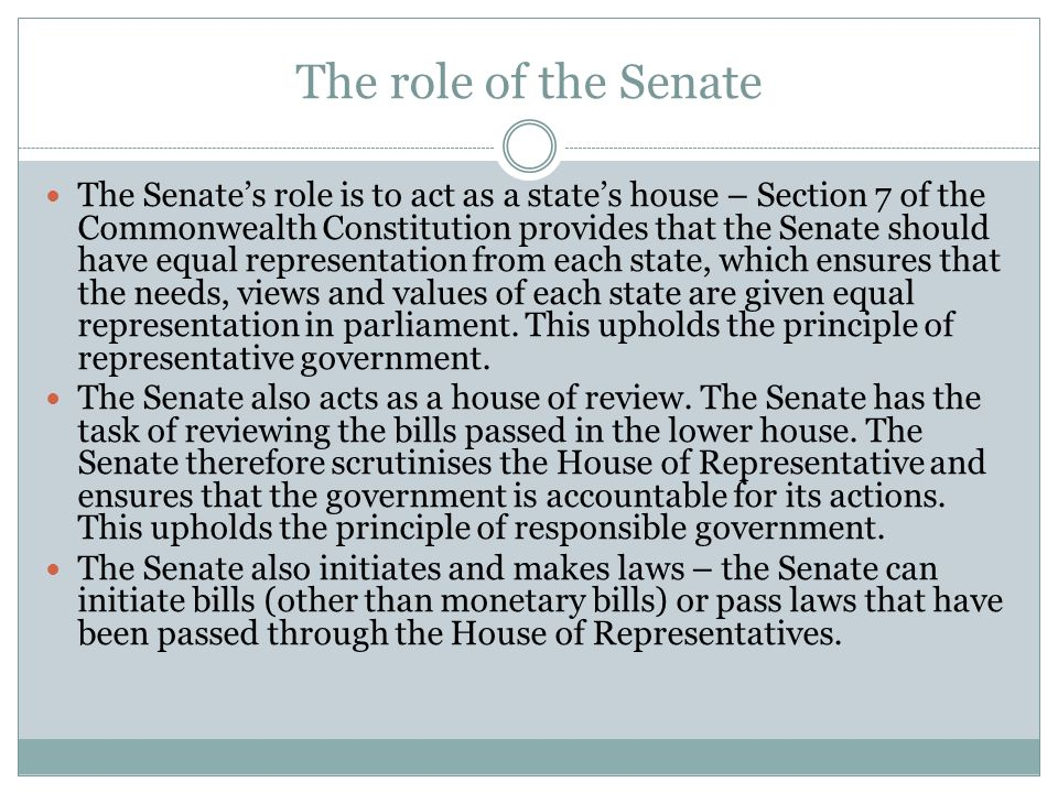 The role of the Senate