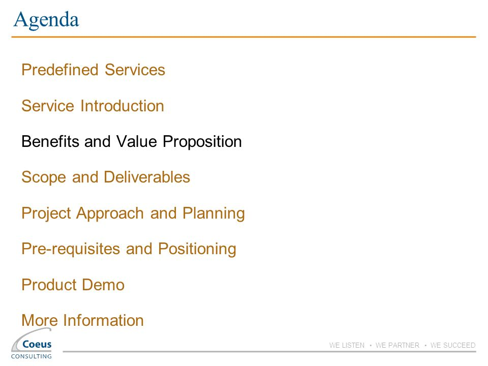 Agenda Predefined Services Service Introduction