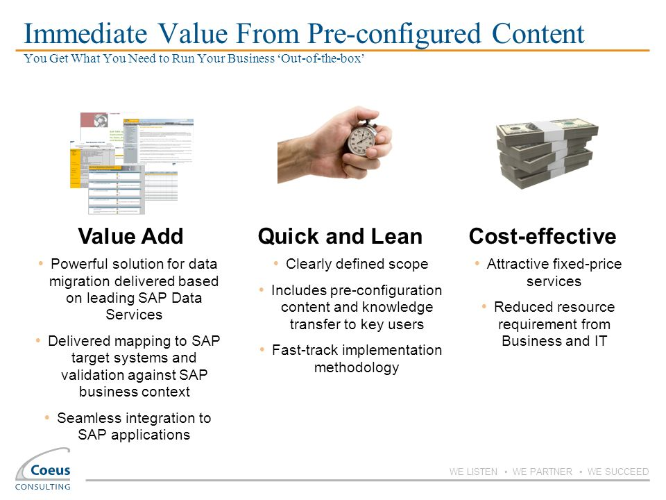 Immediate Value From Pre-configured Content You Get What You Need to Run Your Business 'Out-of-the-box'