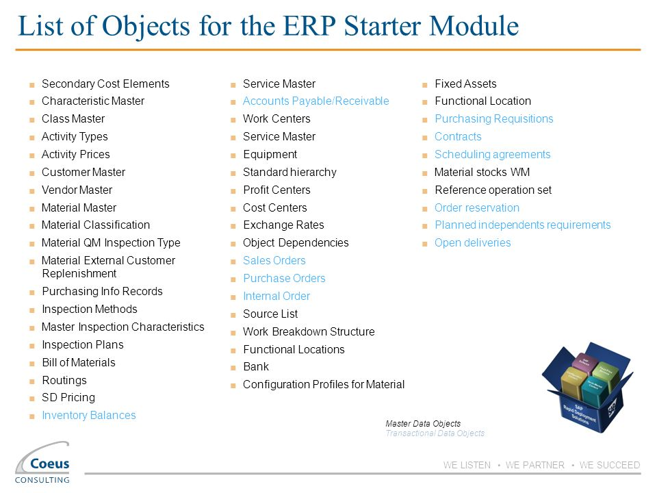 List of Objects for the ERP Starter Module