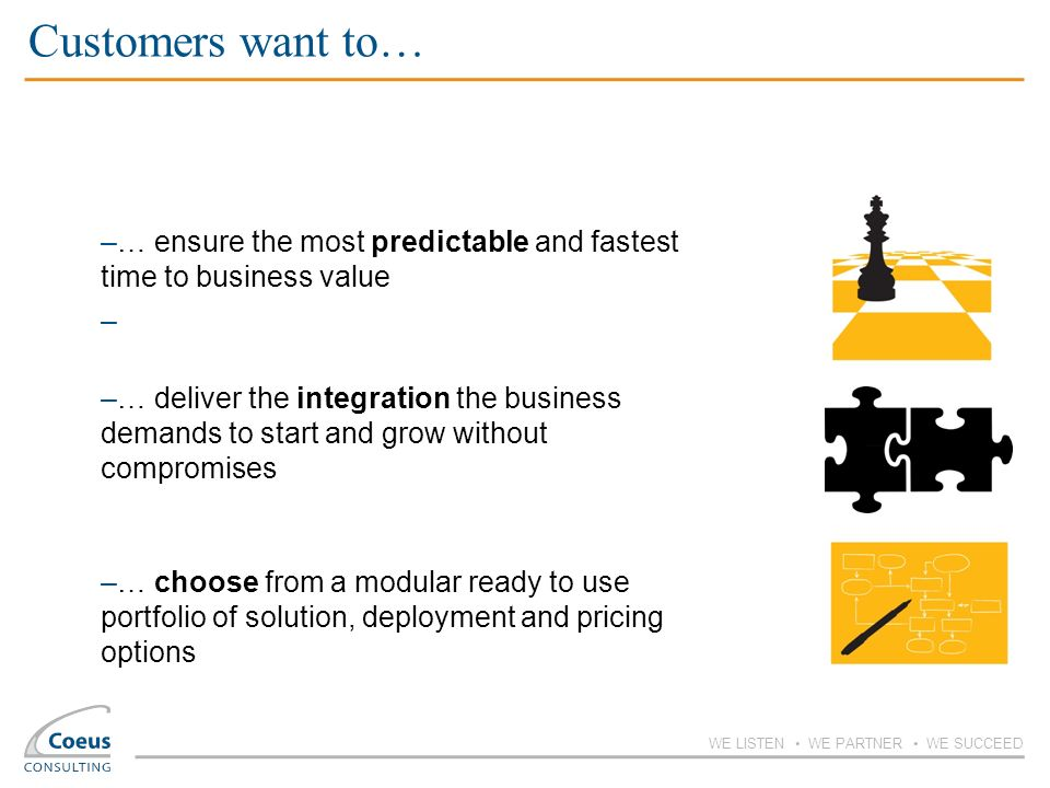 Customers want to… … ensure the most predictable and fastest time to business value.