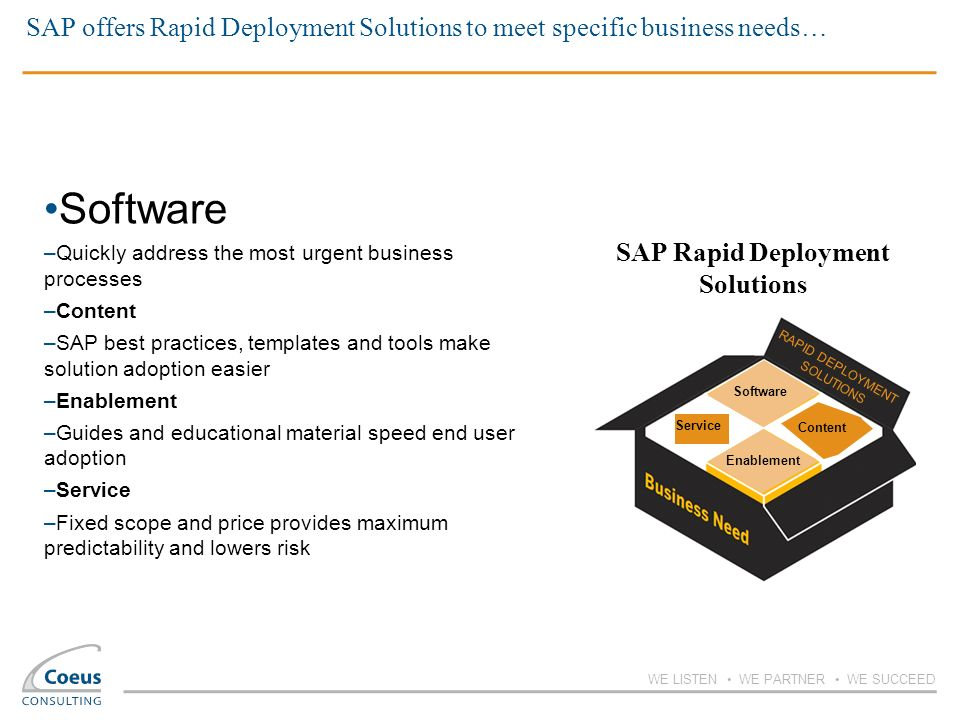 SAP offers Rapid Deployment Solutions to meet specific business needs…
