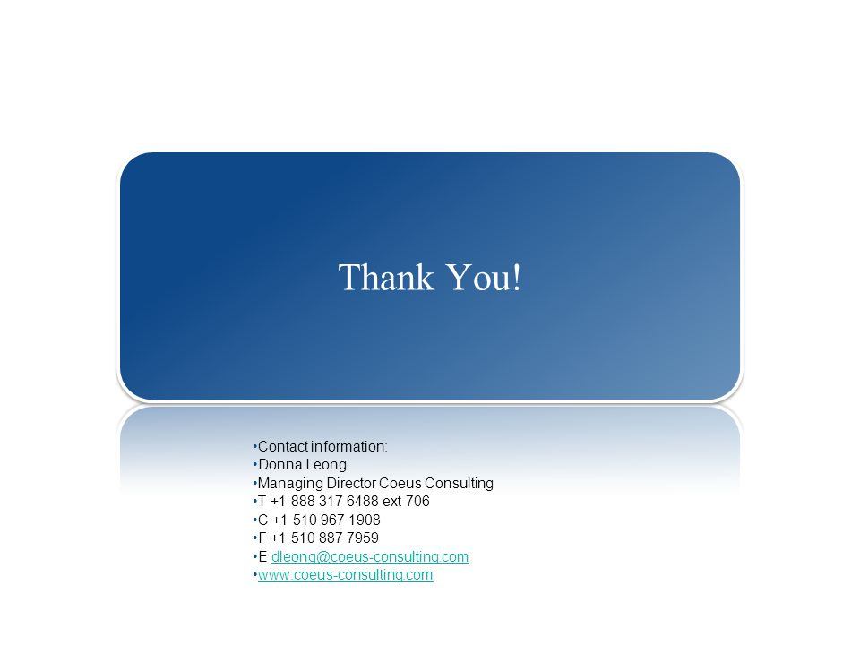 Thank You! Contact information: Donna Leong. Managing Director Coeus Consulting. T +1 888 317 6488 ext 706.