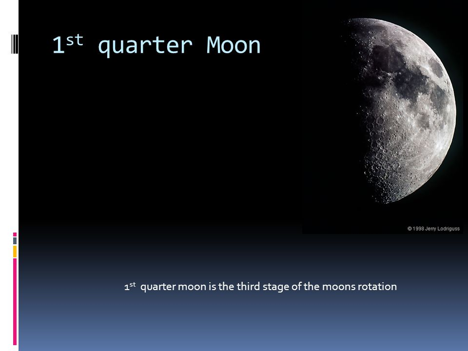 1st quarter Moon 1st quarter moon is the third stage of the moons rotation