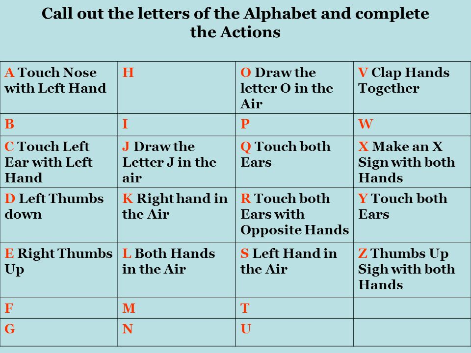 Call out the letters of the Alphabet and complete the Actions