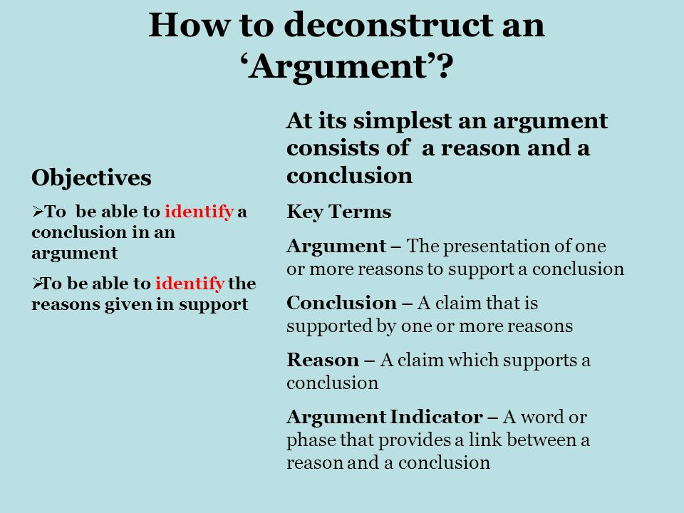How to deconstruct an 'Argument'
