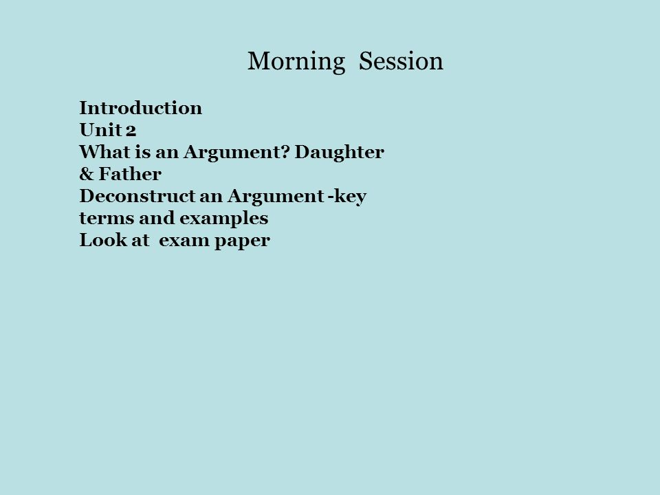 Morning Session Introduction Unit 2