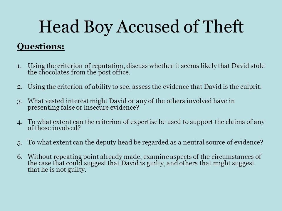 Head Boy Accused of Theft